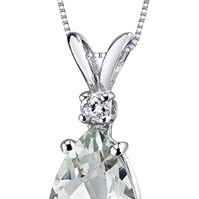 Revoni 14ct White Gold Pear Shape Gemstone Diamond Pendant Necklace