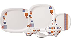 Servewell Candy Cubes Square Round Dinner Set, 25-Pieces