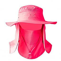 DdyoutdoorTM 07-281 Fashion Summer Outdoor Sun Protection Fishing Cap Neck Face Flap Hat Wide Brim (Rose Red)