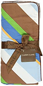 Caden Lane Ikat Collection Chevron Piped Blanket, Blue