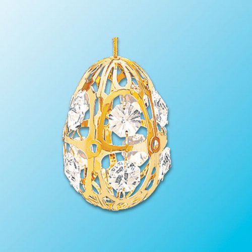 24k Gold Egg Ornament – Clear Swarovski Crystal