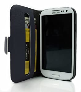 Navy Blue Stand Case for Samsung Galaxy S3 Smartphone + Envydeal Velcro Cable Tie