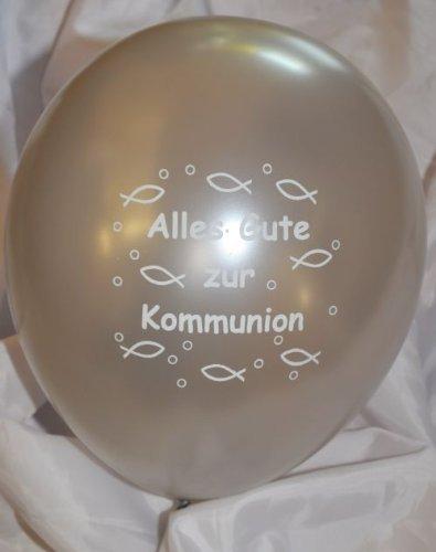 10 luftballons alles gute zur kommunion silber mit wei em for Dekoration kommunion