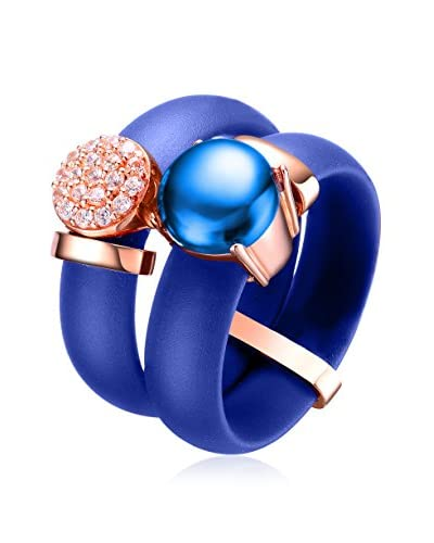 Alberto Moore CZ & Blue Cabochon Blue Silicone Ring Pair, Blue/Rose