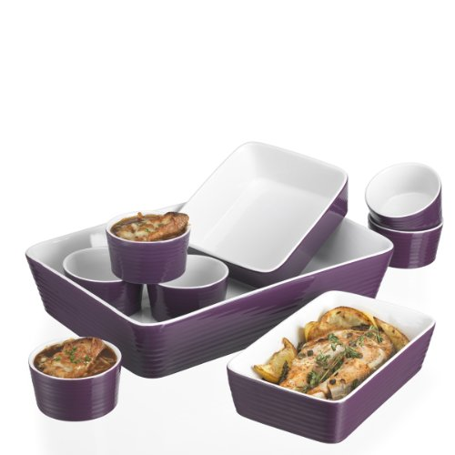 BAKEWARE 9PC SET EMBOSSED RING PURPLE