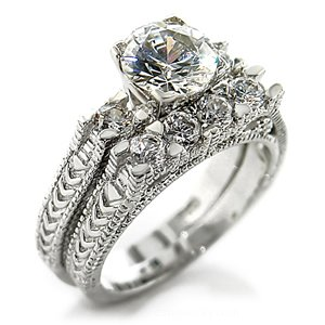 2 ct Brilliant Round Cubic Zirconia cz Bridal Wedding Ring Set Rhodium Gold-plated (6)