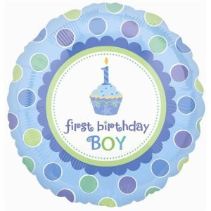 "Happy Birthday 1st Birthday Boy Foil Balloon 18"" - 1"