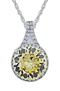 Platinum-Plated Sterling Silver Round Cubic Zirconia Pendant Necklace