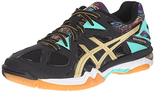 ASICS Women's Gel-Tactic Volleyball Shoe, Black/Gold/Electric Green, 7.5 M US