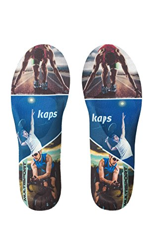 Premium Sport Shoe Insoles Football Basketball Fitness Soccer, Kaps Multisport, All Sizes (7-9 US Women / 38-40 EUR)