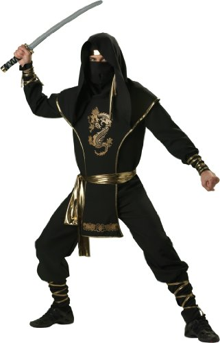 InCharacter Costumes, LLC Ninja Warrior Set, Black/Gold, X-Large