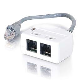 C2G / Cables to Go 37133 2-Port RJ45 Splitter/Combiner Cable, Beige 6-Inch (Single Unit