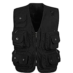 Generic Breathable Quick Dry Mesh Fishing Vests Journalist Photographer Fishing Vest Waistcoat Jacket - black , XXL