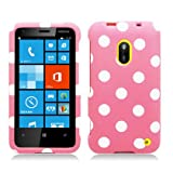 Hard Rubberized Plastic Light Pink White Polka Dots For Nokia Lumia 620 (StopAndAccessorize)