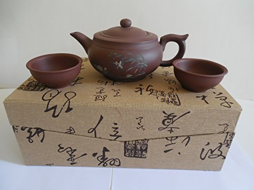 Authentic Chinese Yixing Zisha (Purple Clay) Teapot Set (3 Pieces) in a Beautiful Custom Made Box