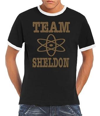 Touchlines Herren T-shirt The Big Bang  Theory Team Sheldon Ringer Kontrast, black/gold, S, B5174-Black/Gold-S