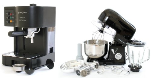 PACKAGE DEAL Kitchen Powerful 3 in 1 FOOD STAND MIXER INC Blender,Meat Grinder 5L in BLACK, Most POWERFUL 1200W + Charles Jacobs 15 Bar Pump COFFEE - ESPRESSO Italian Style MACHINE in Black by Charles Jacobs