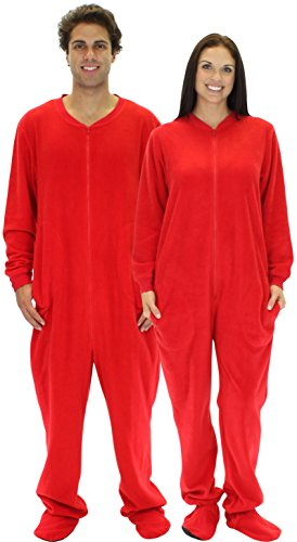 [SleepytimePjs Men's Red Fleece Footed Pajama-2X] (Thing 1 Thing 2 Halloween Costumes)