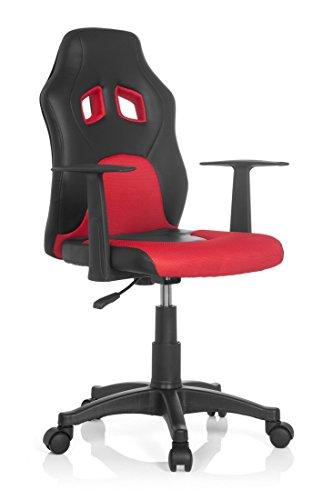 hjh office 670720 kinderschreibtischstuhl teen racer al schwarz rot mit armlehne kinder drehstuhl. Black Bedroom Furniture Sets. Home Design Ideas