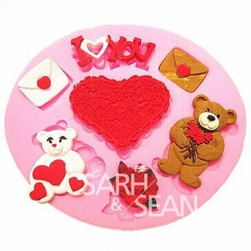 Valentine Bear Lover Heart Silicone Fondant Cake Molds Soap Chocolate Mould For The Kitchen Baking Sugarcraft front-522123