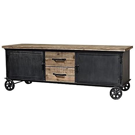 Mueble de salón TV Enfilade Bahut sobre ruedas hierro madera campaña Industrial 155cm
