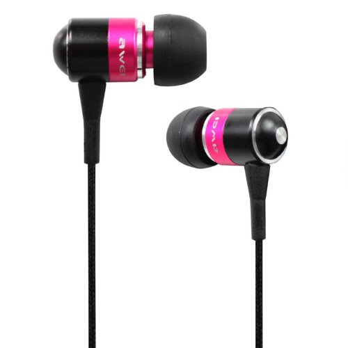 Awei® Es-Q3I Noise Isolation Precise With Precise Bass 3.5Mm Headphones Metal Earphones With Mic For Iphone 4/4S/5/5S Ipod Samsung Htc (Pink)