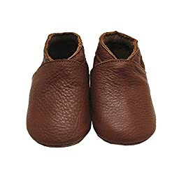 Mejale Baby Boy Shoes Soft Soled Leather Moccasins Anti-skid Infant Toddler Prewalker(brown,3-6 months)