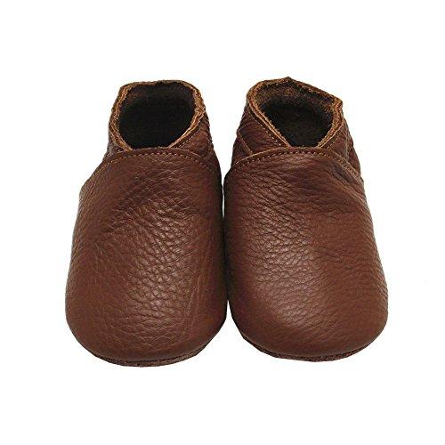 Mejale Baby Boy Shoes Soft Soled Leather Moccasins Anti-skid Infant Toddler Prewalker(brown,18-24 months)