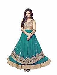 Siya Fashion women's Net Party Wear Unstitched Dress Material(si1505_ Turquoise color)