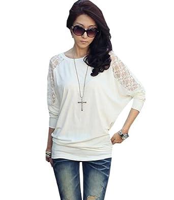 Zehui Lady's Batwing Dolman Stylish Loose Blouse Long Sleeve Shirt Lace Tops T-Shirt White