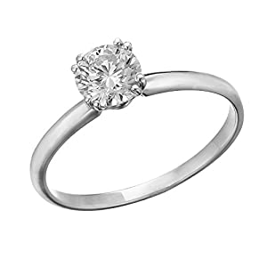 IGI Certified 14k white-gold Round Cut Diamond Engagement Ring (0.34 cttw, E Color, VS1 Clarity) - size 4.5