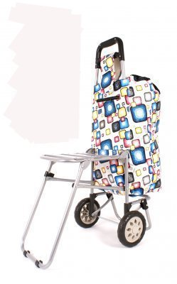 New Lightweight Wheeled Shopping Trolley with Folding Seat Grocery Storage Bag