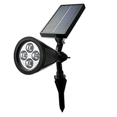 GardenHOME Solar Powered LED Outdoor Landscape Spotlight - Bright 200 Lumen Outdoor Wireless Wall Light with LED lamps life of 55000 hours. Completely Waterproof - use in snow and rain.