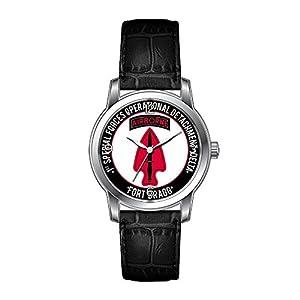 AMS Christmas Gift Watch Women's Vintage Design Leather Black Band Wrist Watch 1st SF Op Det - Delta Wristwatch