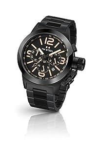 TW Steel TW312 Canteen - Reloj de pulsera en acero, correa de acero color gris negro