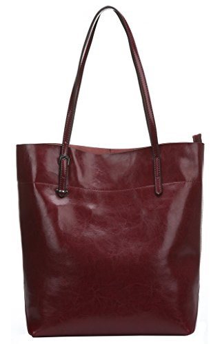 Image of Melete Women's Handbag Genuine Leather Tote Shoulder Bags Soft Hot Wine-red