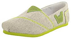 willywinkies Kids Grey and Green Canvas Loafers - 28