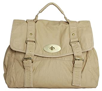 """Violetta"" Convertible Crossbody Vintage Purse Single Flap Buckle Handbag-Beige"