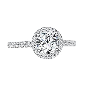 1 CT Pave Engagement Ring Round Cut with Sidestones for Ladies H-I/I1-I2 14K White Gold - IGI Certified