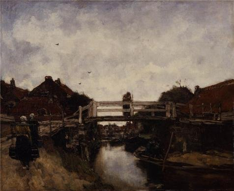 Oil Painting 'Jacobus Hendrikus Maris - The Bridge, 1885' Printing On High Quality Polyster Canvas , 10x12 Inch / 25x31 Cm ,the Best Powder Room Gallery Art And Home Decoration And Gifts Is This Vivid Art Decorative Canvas Prints