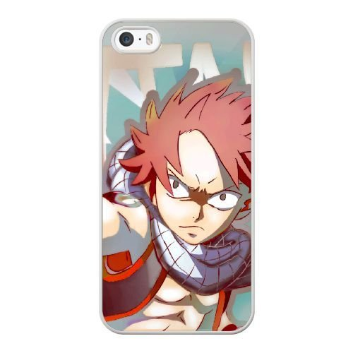 ZAE Made Phone Case with Free Screen Protector [Tempered Glass]Fairy Tail Natsu Dragneel Cover White Case for iPhone 5 5S.BBF-50070