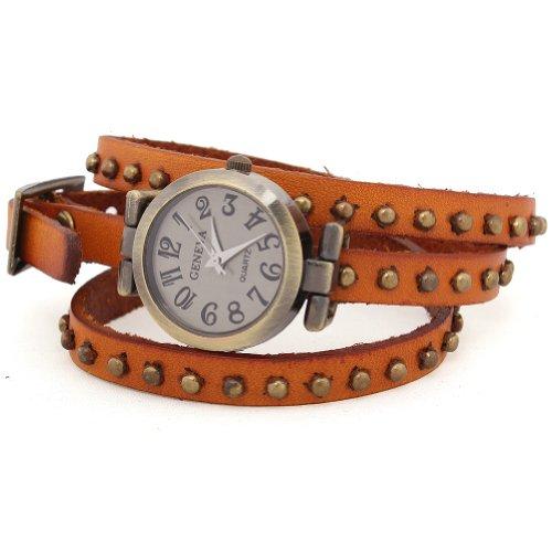WLM Women Ladies Girls Brown Slim Band Bracelet Design Leatheroid Quartz Wrist Watch Clock