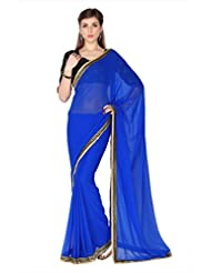 Designersareez Women Blue Faux Georgette Saree With Unstitched Blouse (1782)
