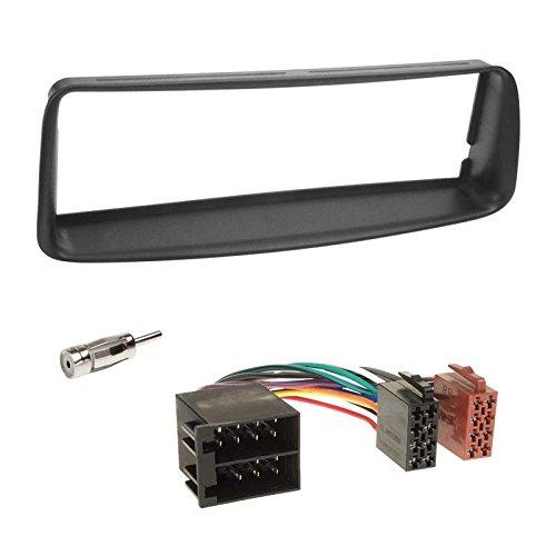 Peugeot-206-CC-00-07-1-DIN-Autoradio-Einbauset-inkl-Kabel-Adapter-und-Radioblende-in-schwarz