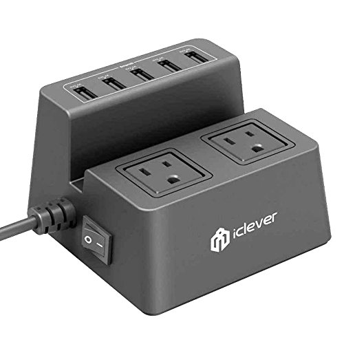 iClever BoostCube 8A 5-Port USB Desktop Charger with 2 Surge Protected Outlets and 5ft Power Cable