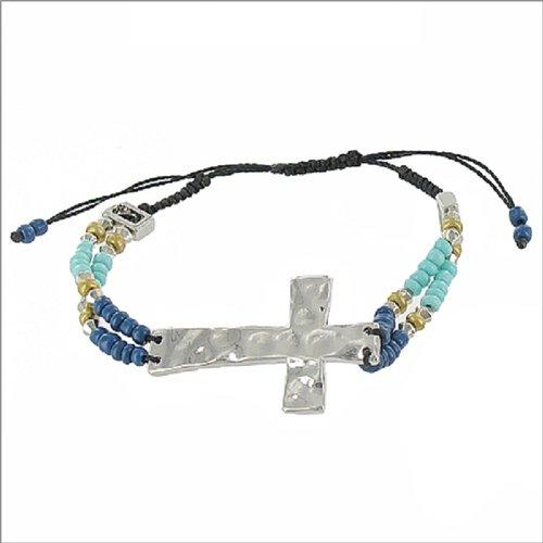 Hammered Metal Cross String Band Bracelet #041464