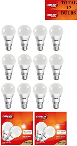 8W B22D LED Bulb (Cool Day Light, Pack of 12)