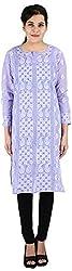 Drishti Lucknowi Chikan Women's Cotton Kurta (DLC-K11, Purple, L)