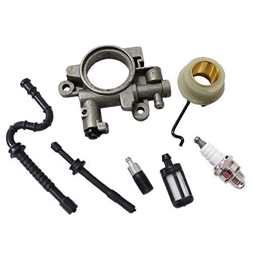 New Pack of Oil Pump Oiler + Worm Gear Spring Fuel Line Filter Spark Plug for STIHL 029 039 MS290 MS310 MS390 Chainsaw image