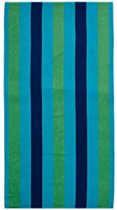 Cotton Craft - Terry Beach Towel 30x60 - 2 Pack - Cabana Stripe Navy Green Turquoise - 400 grams 100% Pure Ringspun Cotton - Brilliant intense vibrant colors - Highly absorbent easy care machine wash - Use for picnic poolside or as a colorful bath towel